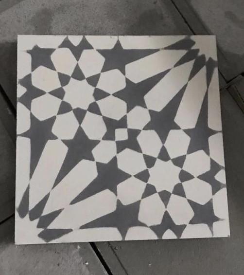 Véritable Carreau ciment motif ROSACE 20x20 - MOSAIC-SAHARA - Carrelage Intérieur - Les carreaux ...
