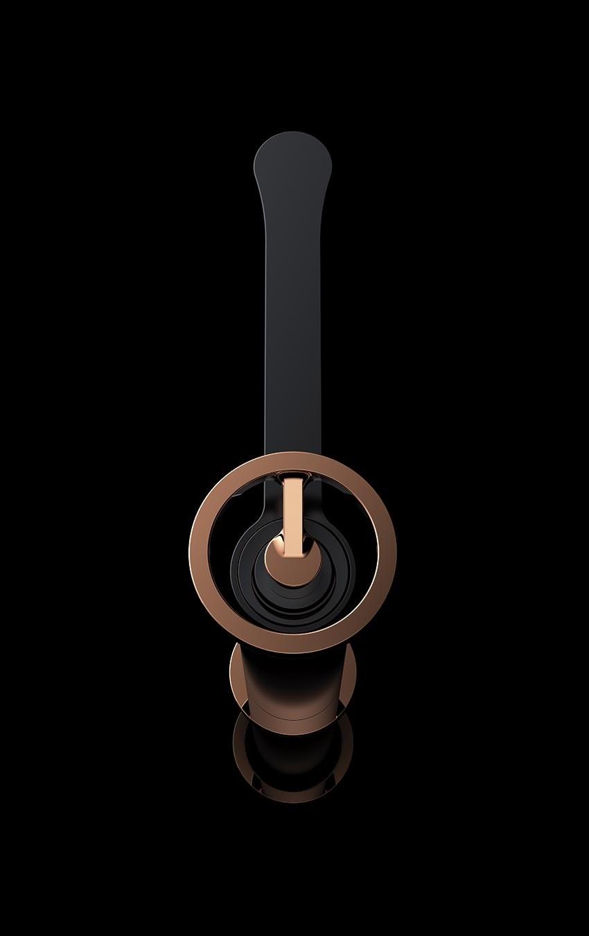 Mitigeur lavabo haut monocommande noir doré rosé série OLIMPO -  IMEX
