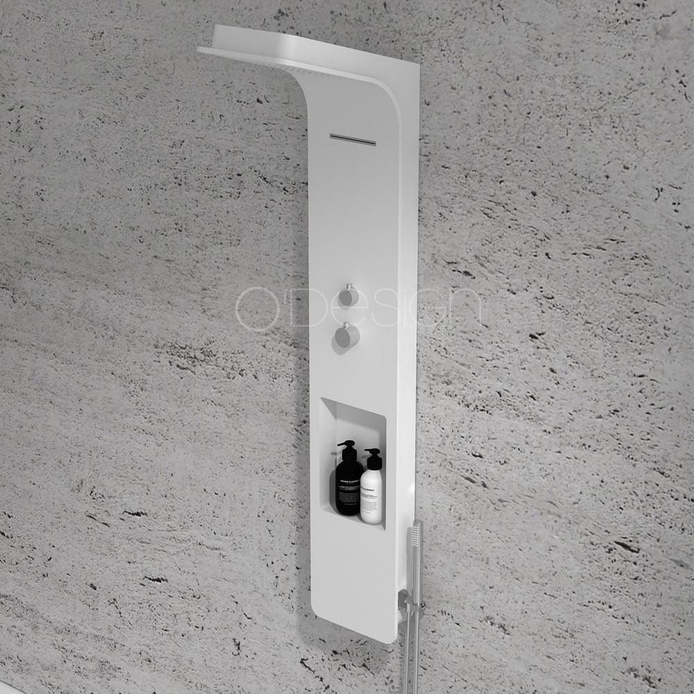Colonne de douche thermostatique blanc mat série CAMELIA - OTTOFOND