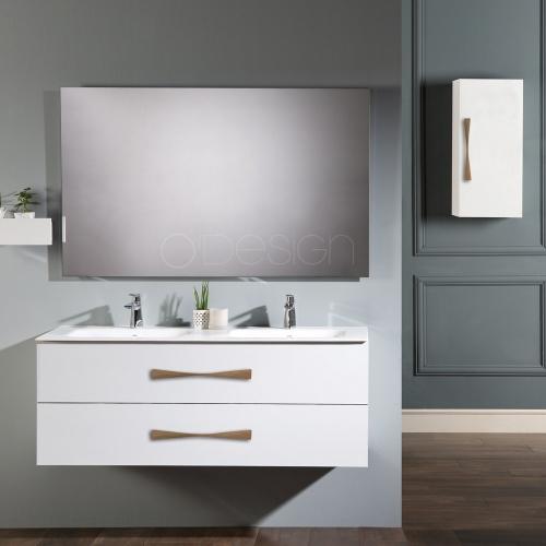 Ensemble Meuble suspendu 100cm + miroir + colonne série Belem - OTTOFOND - livraison sous 8 jours.